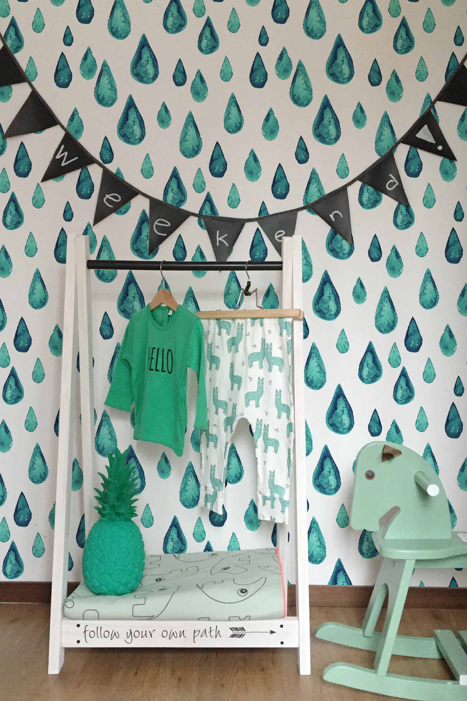 Turquoise Raindrops Removable Wallpaper