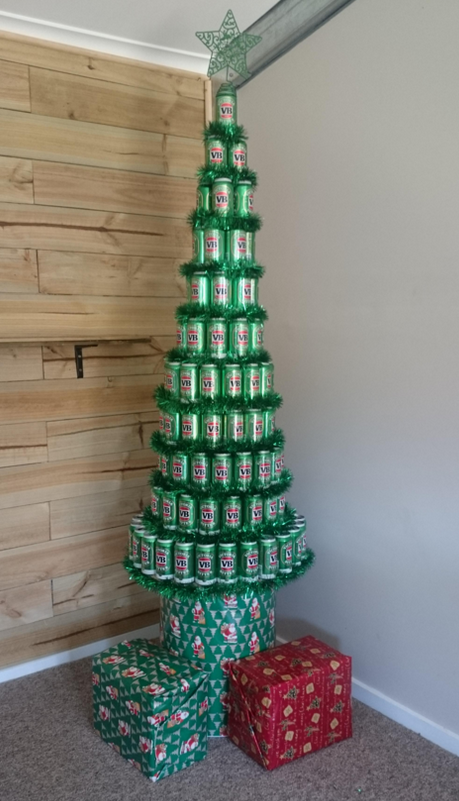 Image result for beer can christmas tree
