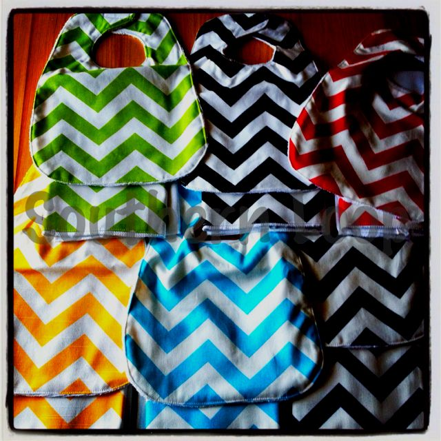 Loves these chevron bibs & burp cloths from www.southernloopyall.com