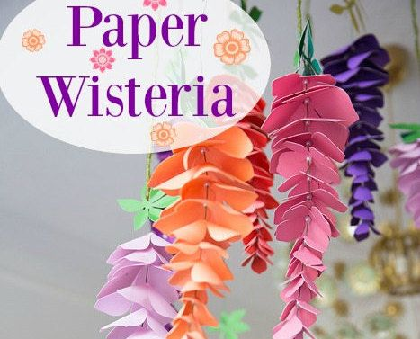 Paper Wisteria Flowers Hanging Wisteria Paper Decor Party Etsy Paper Flowers Paper Flower Template Flower Template