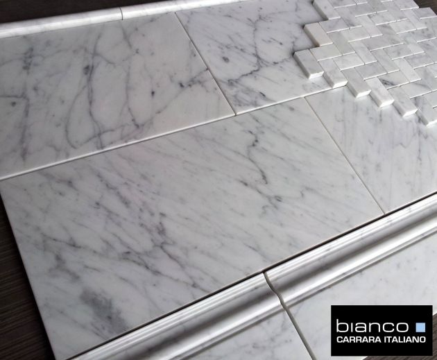 """$9.95SF Carrara Bianco 8x16"""" Polished and Honed Marble Tile from thebuilderdepot.com. #carrara #8x16 #marble #tile #subway #honed #polished"""
