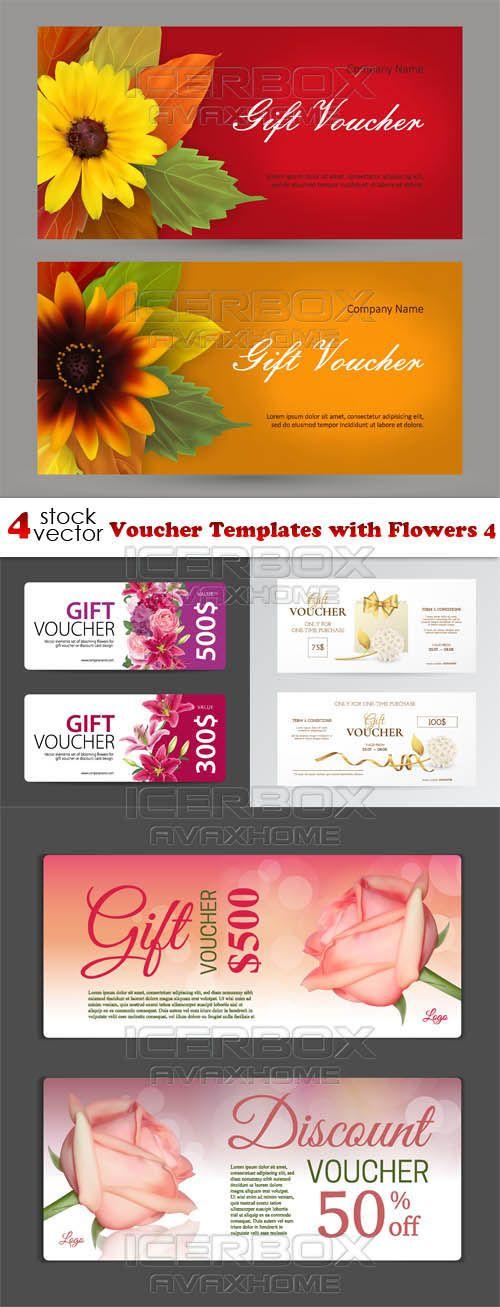 Vectors Voucher Templates with Flowers 4 Free Download   ifttt - payment voucher template