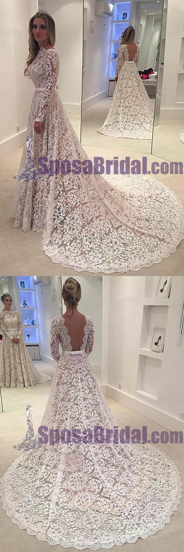 Long sleeves lace aline floorlength with small tail formal simple