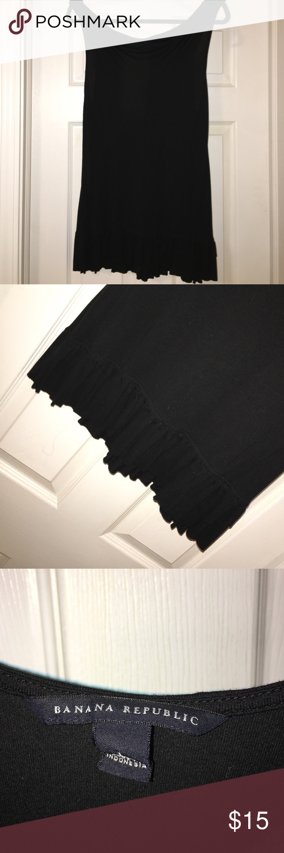 Banana republic black tank Long black tank with ruffle bottom hen worn once. Good condition Banana Republic Tops Tank Tops