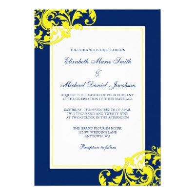 Navy Blue and Yellow Flourish Swirls Wedding Invites