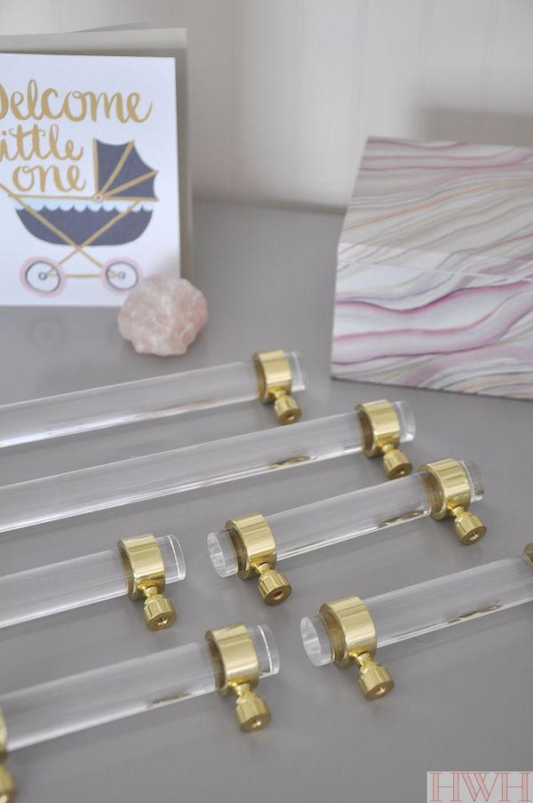 Lucite & Gold Cabinet Hardware (Honey We\'re Home) | Hardware | Pinterest