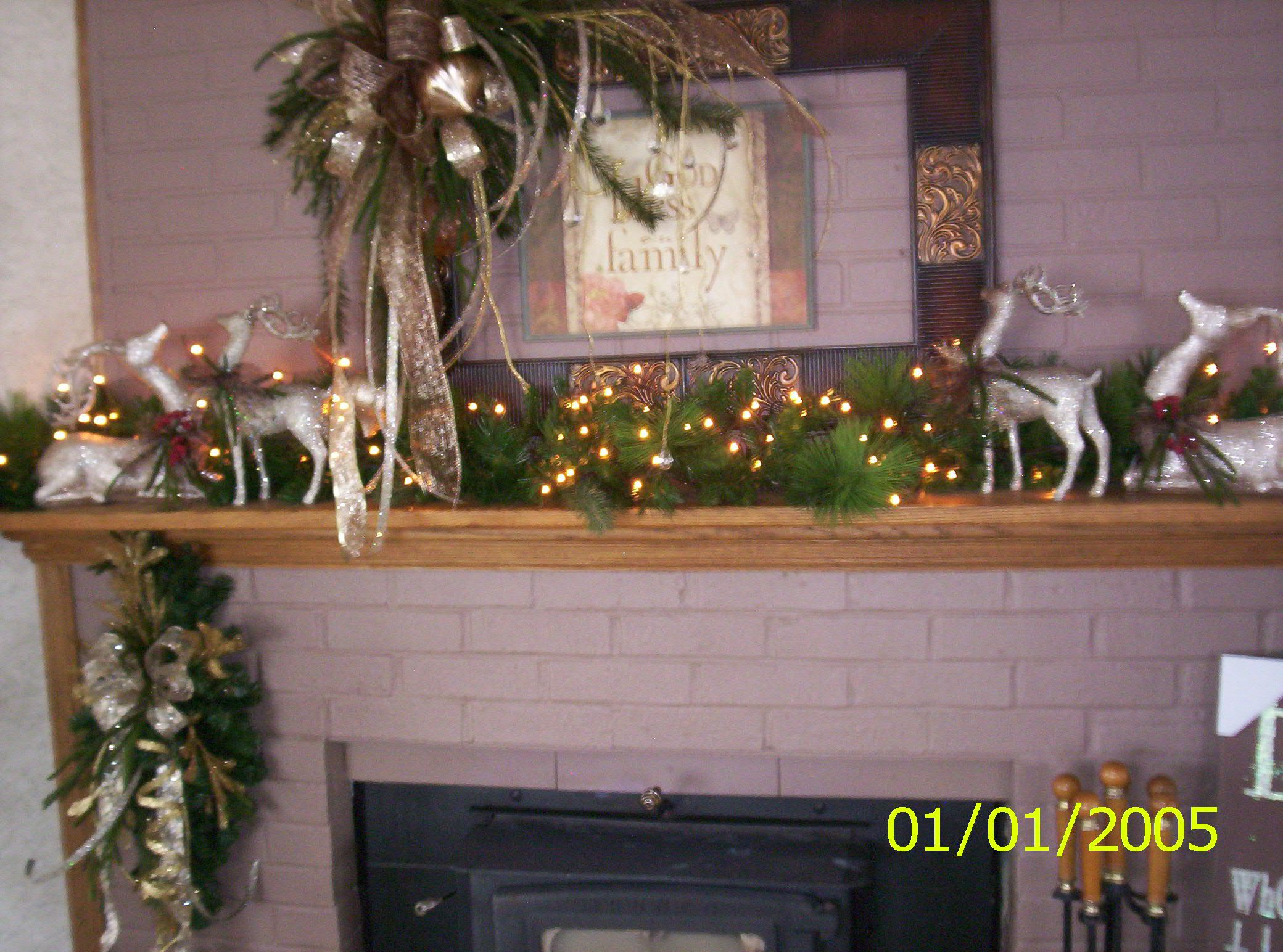 christmas mantel with yard sale frame