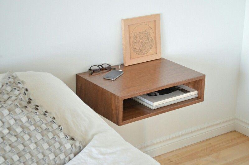 Floating Bedside Shelf Side Table Walnut Bedroom Bedside Shelf