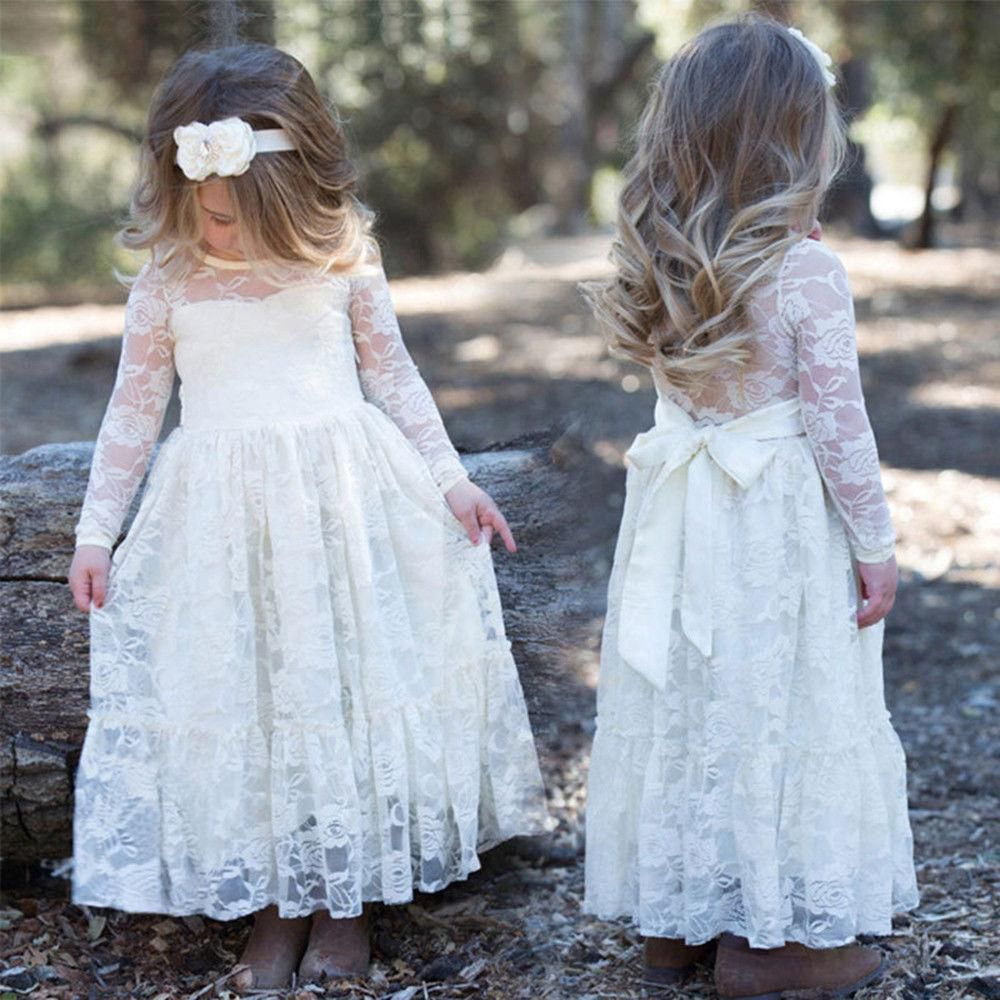 Child kids baby girl long sleeve lace wedding pageant party princess