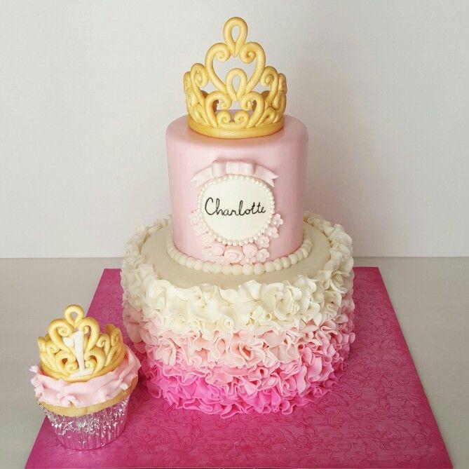 Princess birthday cake Pink ombre ruffle birthday cake with