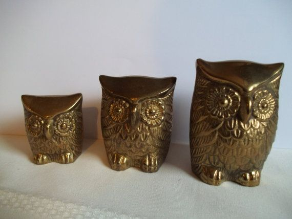 Vintage set of 3 solid brass owls family by leonard silver mfg co by greengamesjewelry