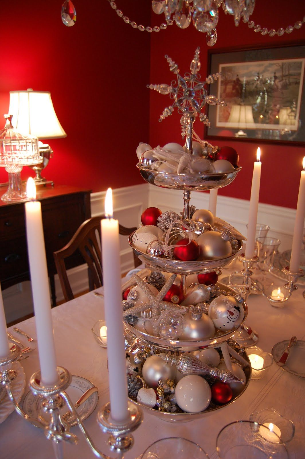 Silver Tiered Centerpiece For Christmas Christmas Table Decorations Christmas Centerpieces Christmas Table Settings
