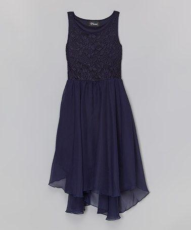 Look at this #zulilyfind! Navy Lace Handkerchief Dress by Btween #zulilyfinds