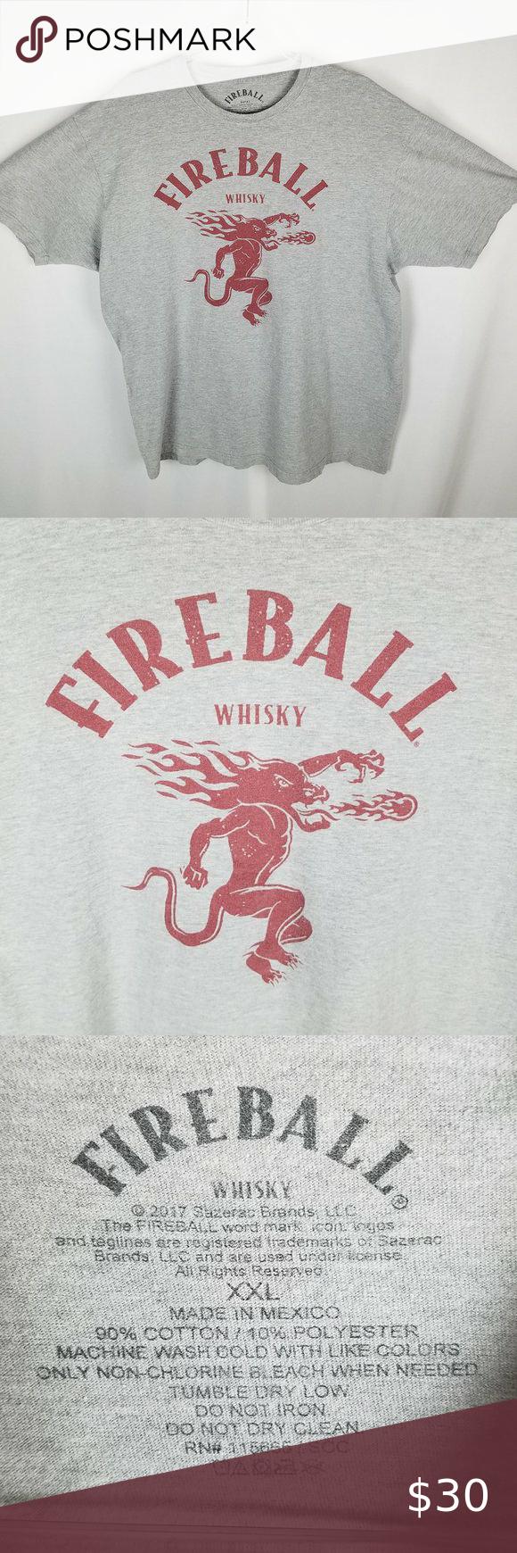 Fireball Whiskey Red Logo Graphic Grey Tshirt Xxl Red Logo Logo Graphic Gray Tshirt