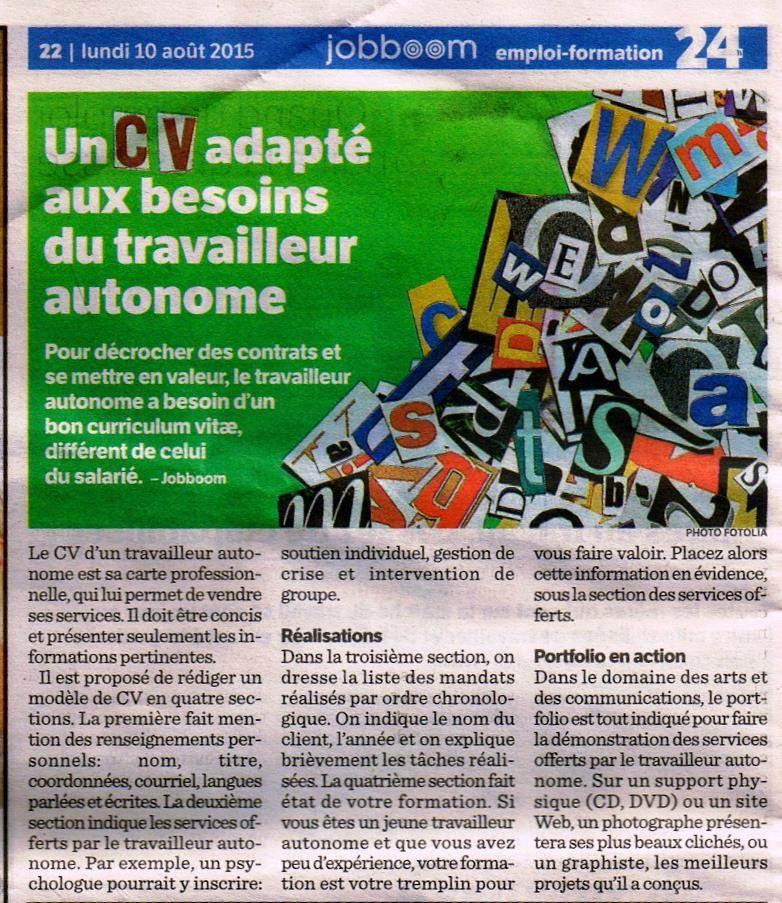 un cv adapt u00e9 aux besoins du travailleur autonome  pour d u00e9crocher des contrats et se mettre en