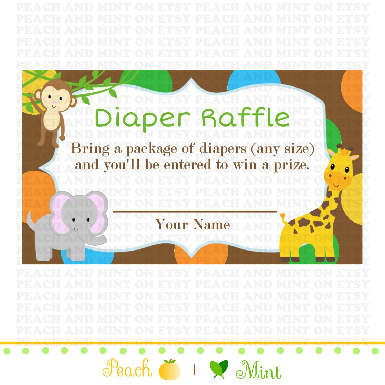 Printable Safari or Jungle Baby Shower Diaper by PeachAndMint, $2.99. raffle  ticket ...