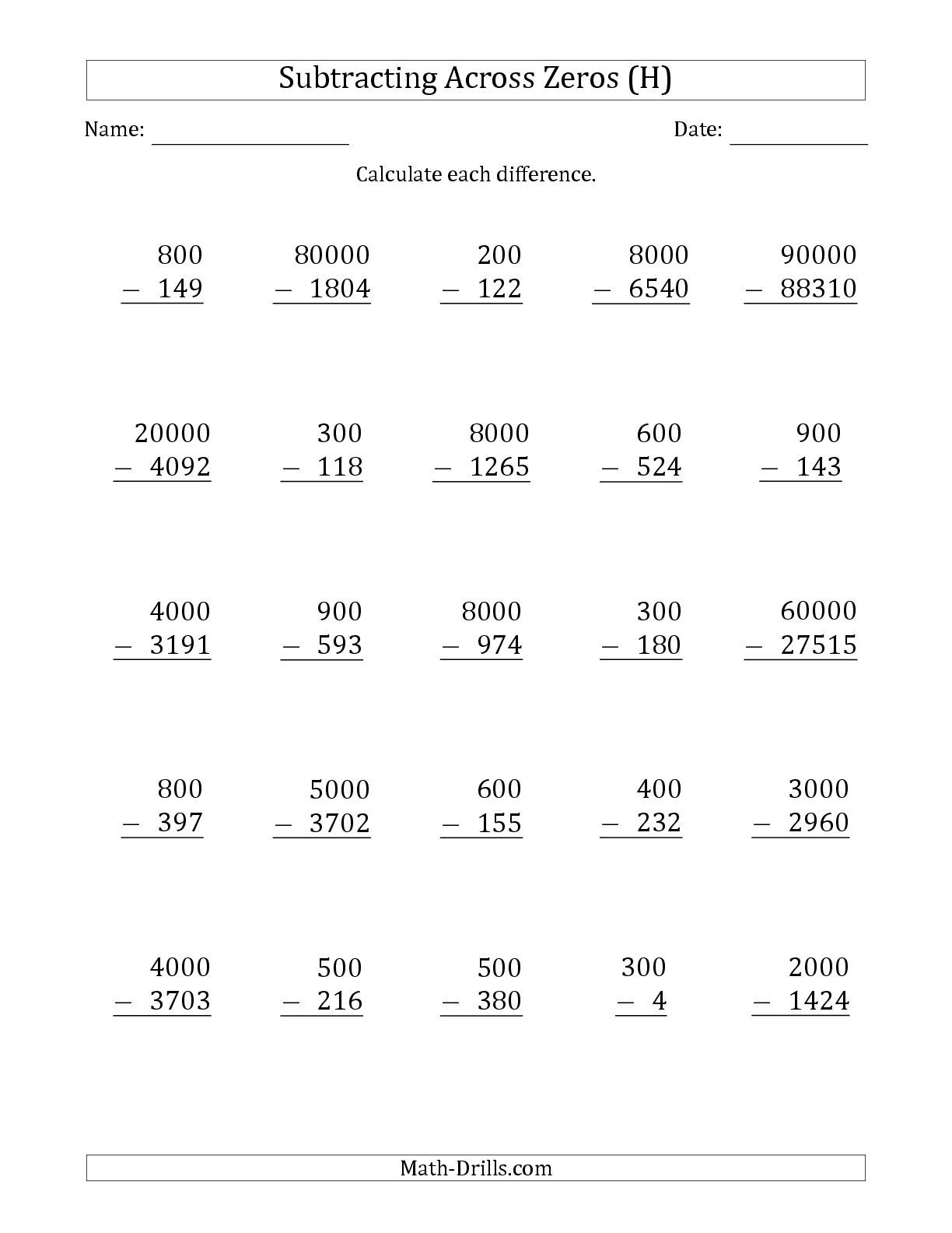 The Subtracting Across Zeros From Multiples Of 100 1000 And 10000 H Subtraction Across Zeros Addition Worksheets Math Fact Worksheets