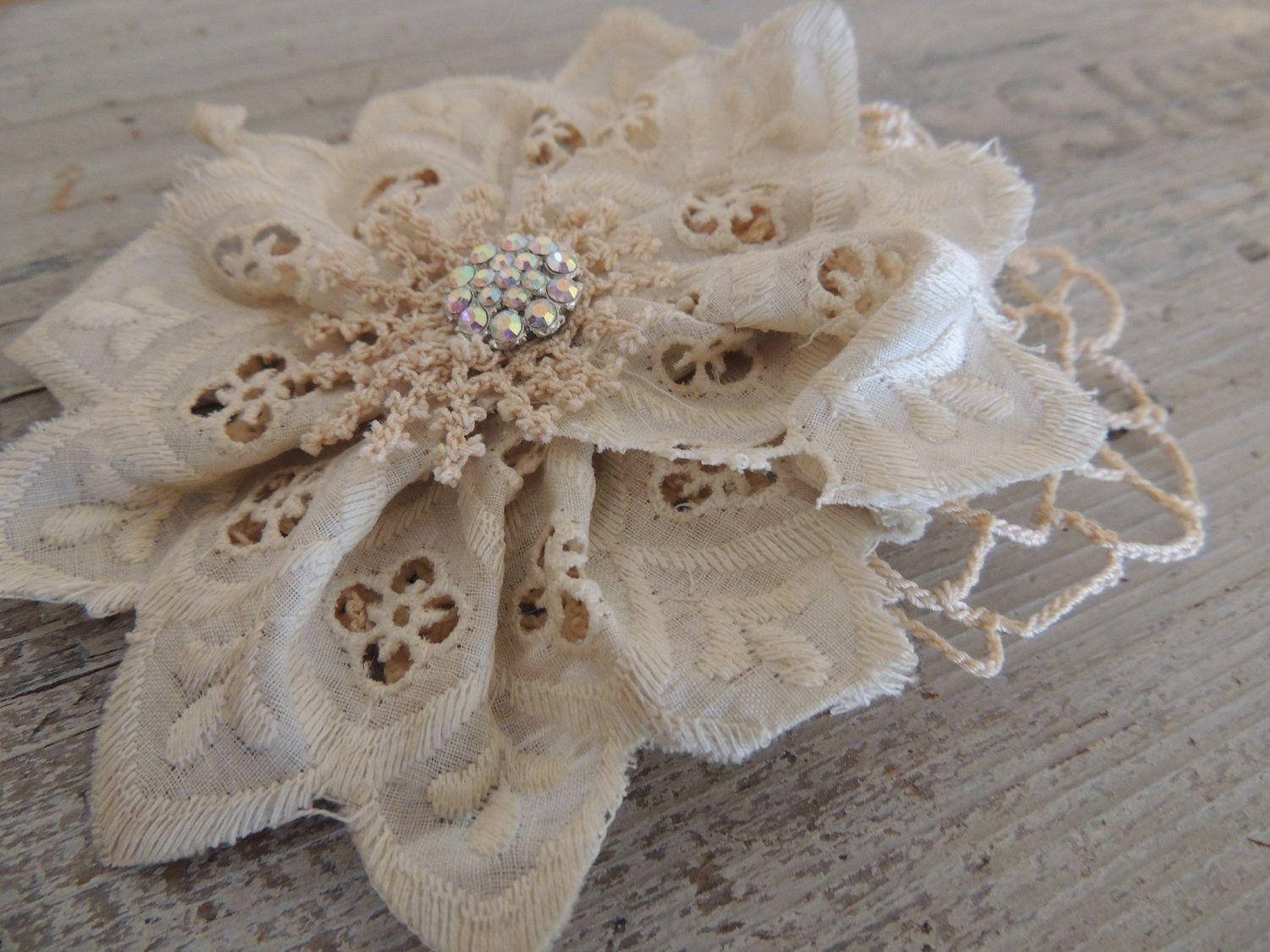 Lace Hair Flower / Lace and Doily Hair Piece / by AFOLKTALE, $14.00