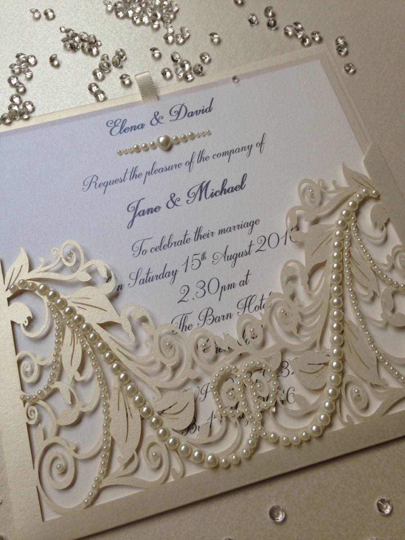 LASER CUT VINTAGE,ELEGANT,SILVER GLITTER PEARLS WEDDING INVITATIONS