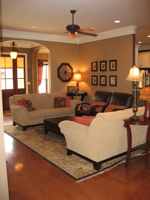 Tan Family Room With Ceiling Fan Considering A Ceiling Fan In My Tan Family Room Tan Living Room Happy Living Rooms Minimalist Living Room #tan #and #burgundy #living #room