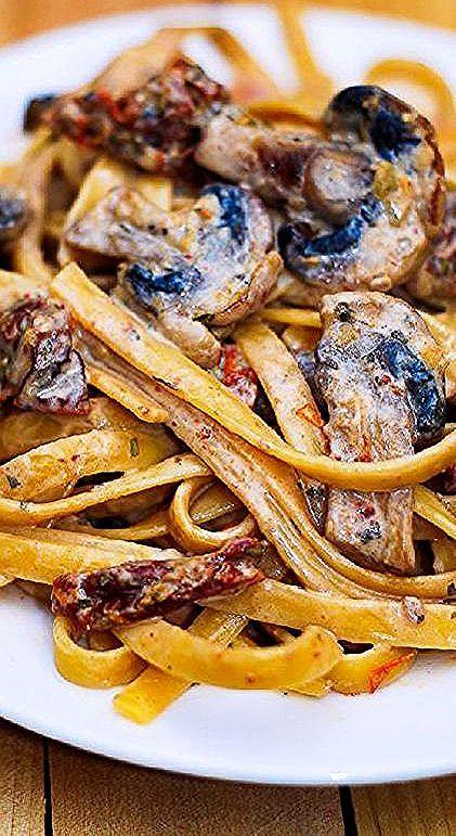 Pasta Recipe | Sun Dried Tomato And Mushroom Pasta In A Garlic And Basil Sauce -