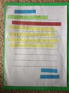 How to use highlighter tape to help students find important components in their writing.