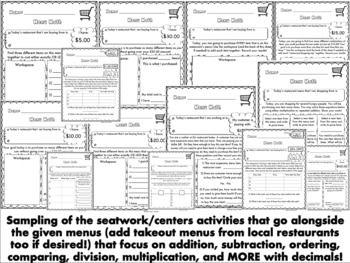 Decimals Practice Centers Using Restaurant Menus Pack