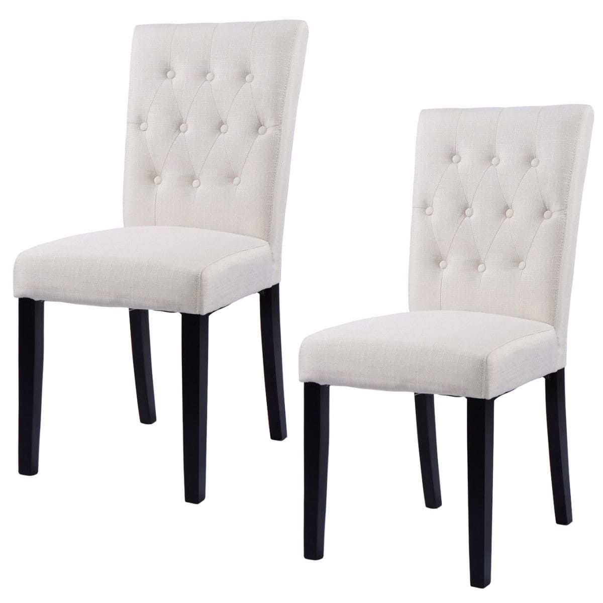 Costway Set of 2 Fabric Dining Chair Armless Chair Home Kitchen ...