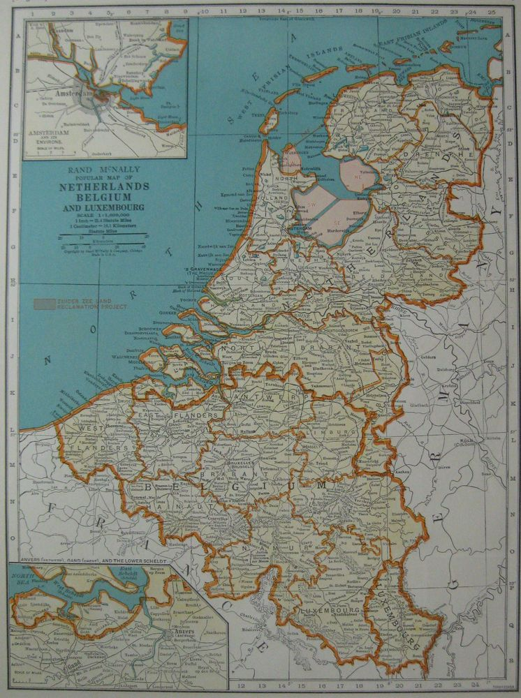 1938 vintage map of the netherlands map belgium map luxembourg 3063