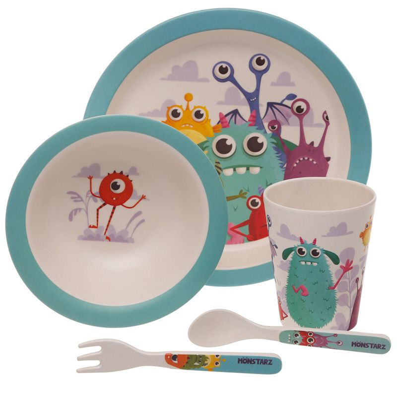 Bamboo Eco Friendly Monsters Design Kids Dinner Set Kids Dinner Sets Alphabet Wall Art Kids Set