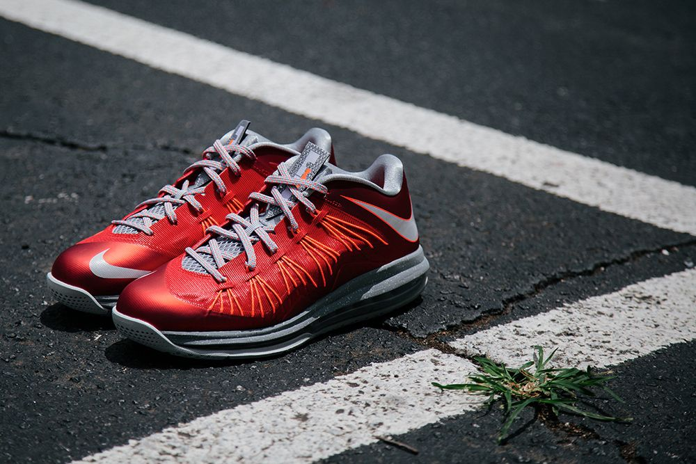 low priced a4a11 a65c3  Nike Air Max Lebron X Low University Red Pure Platinum