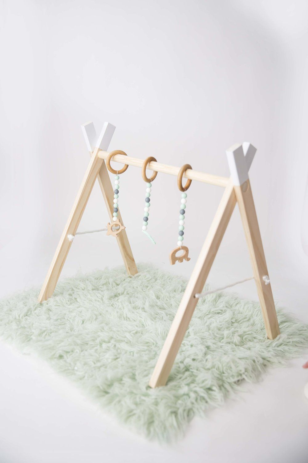 Wooden baby activity gym hanging toys for kids pinterest