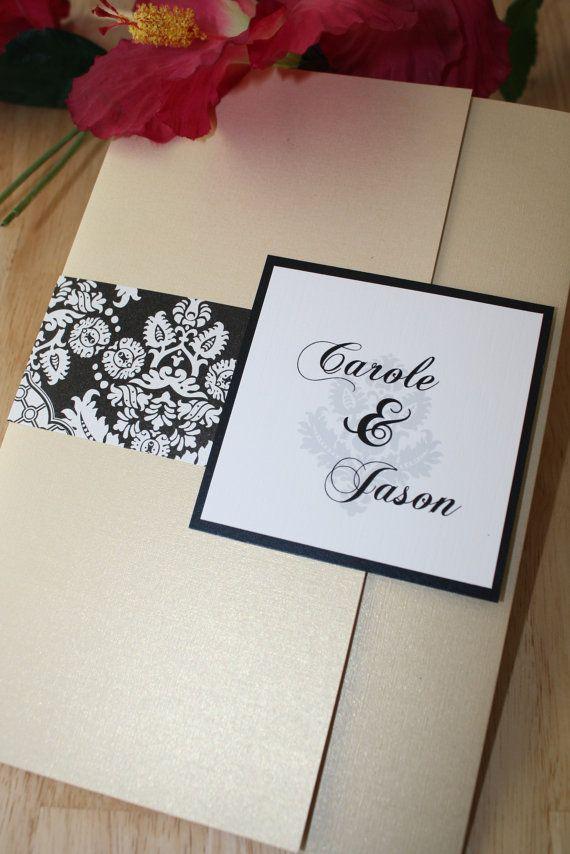 Damask Black, White and Metallic Sand Wedding Pocketfold Invitation ...