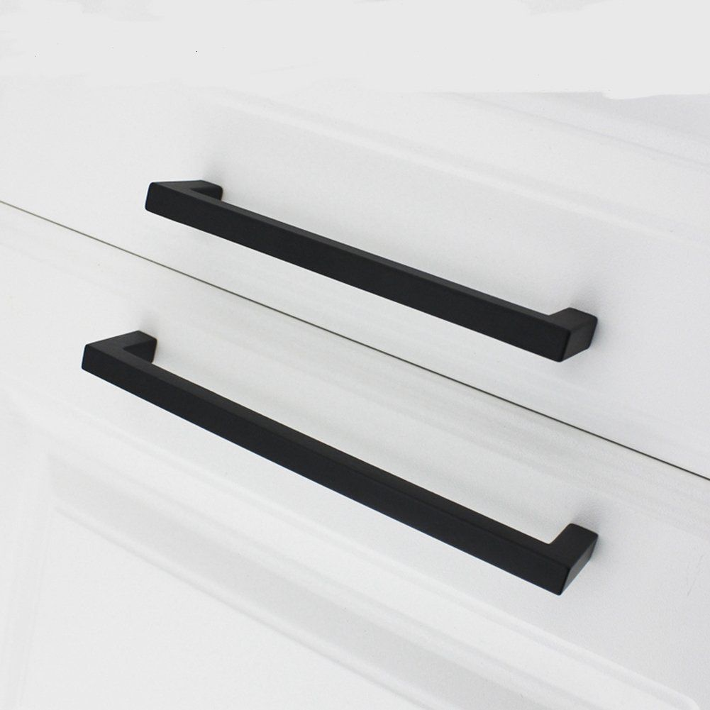 Homdiy Black Square Cabinet Hardware Euro Style Bar Handle Pull Stainless Steel For Furniture Kitche Kitchen Drawer Pulls Kitchen Handles Black Kitchen Handles