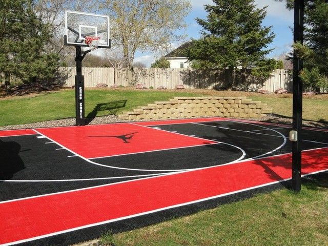 I Really Like The Colors Used When Making This Home Half Court Basketball Area A Great Basketball Court Backyard Outdoor Basketball Court Backyard Basketball