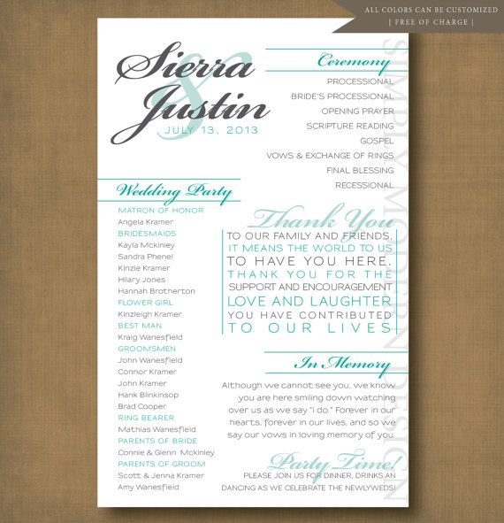 Modern Wedding Ceremony Program Wedding Party Bridal Party