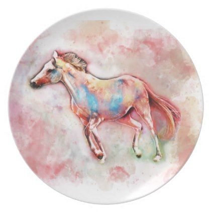 Horse In Watercolor Plate Kitchen Gifts Diy Ideas Decor Special Unique Individual Customized Watercolour Gift Horses Kitchen Gifts Diy