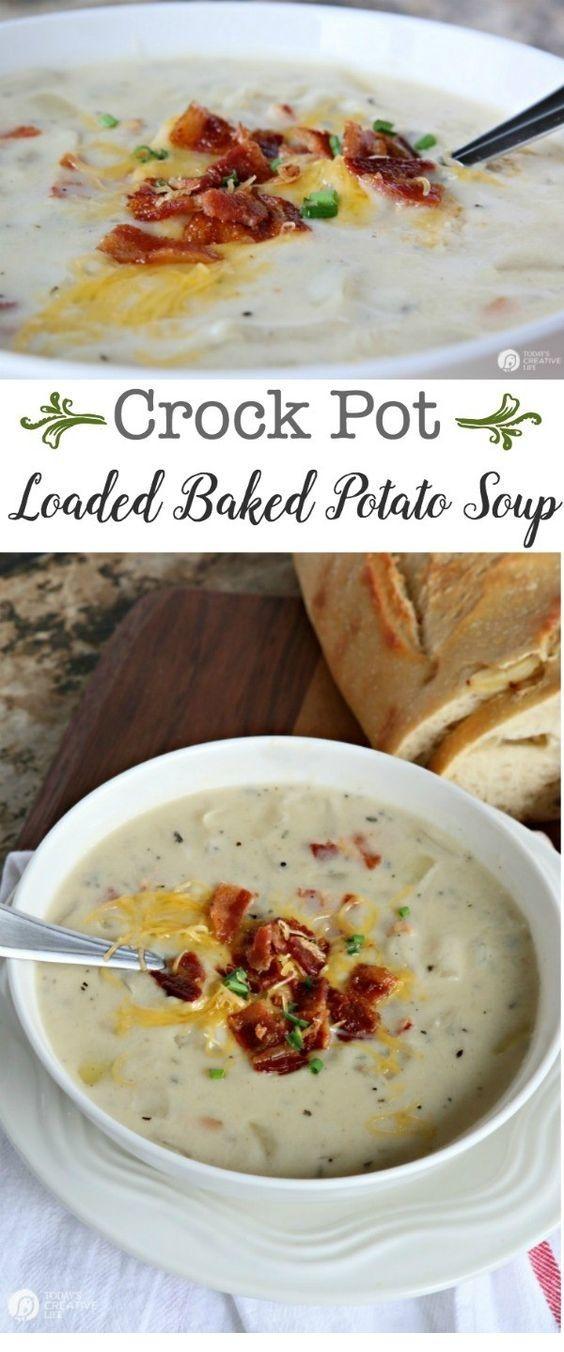 Crock Pot Potato Soup   Easy Crockpot Meals #crockpotmealprep