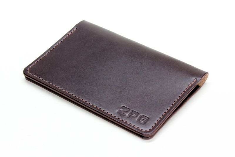 Personalized dark brown bridle leather bifold wallet