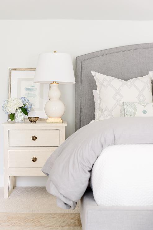 Gray Linen Curved Headboard With Ivory Wood Nightstand Transitional Bedroom Curved Headboard Grey Upholstered Bed Wood Nightstand