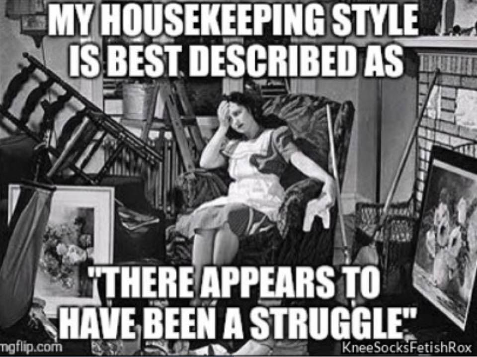 "My housekeeping style is best described as ""There appears to have been a  struggle."" Teeheehee...Yep! Nowadays that is a fact. 