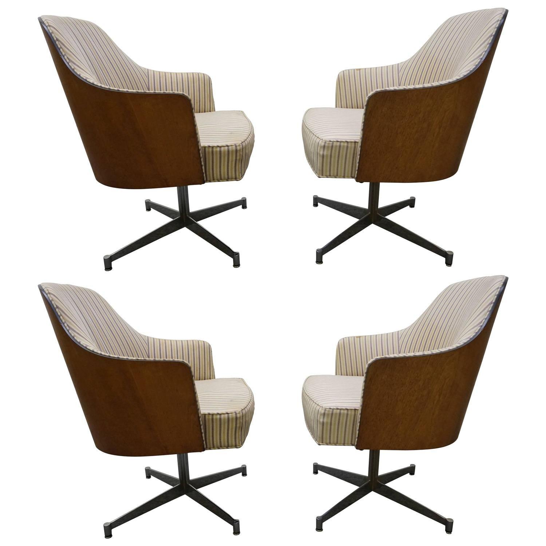 Four Milo Baughman Style Teak Back Swivel Dining Chairs Mid Century Modern
