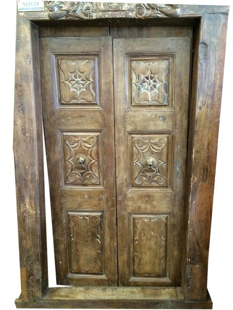 Antique Double Door Panel with Peacock Carved Solid Wood Frame - Antique Double Door Panel With Peacock Carved Solid Wood Frame