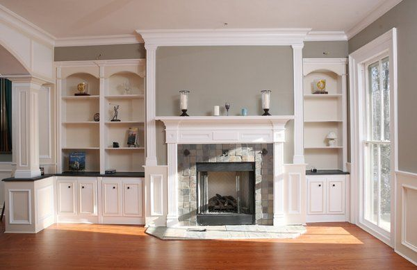 fireplaces with bookshelves on each side | Fireplace mantle with bookcases  on sides | Yelp - Fireplaces With Bookshelves On Each Side Fireplace Mantle With