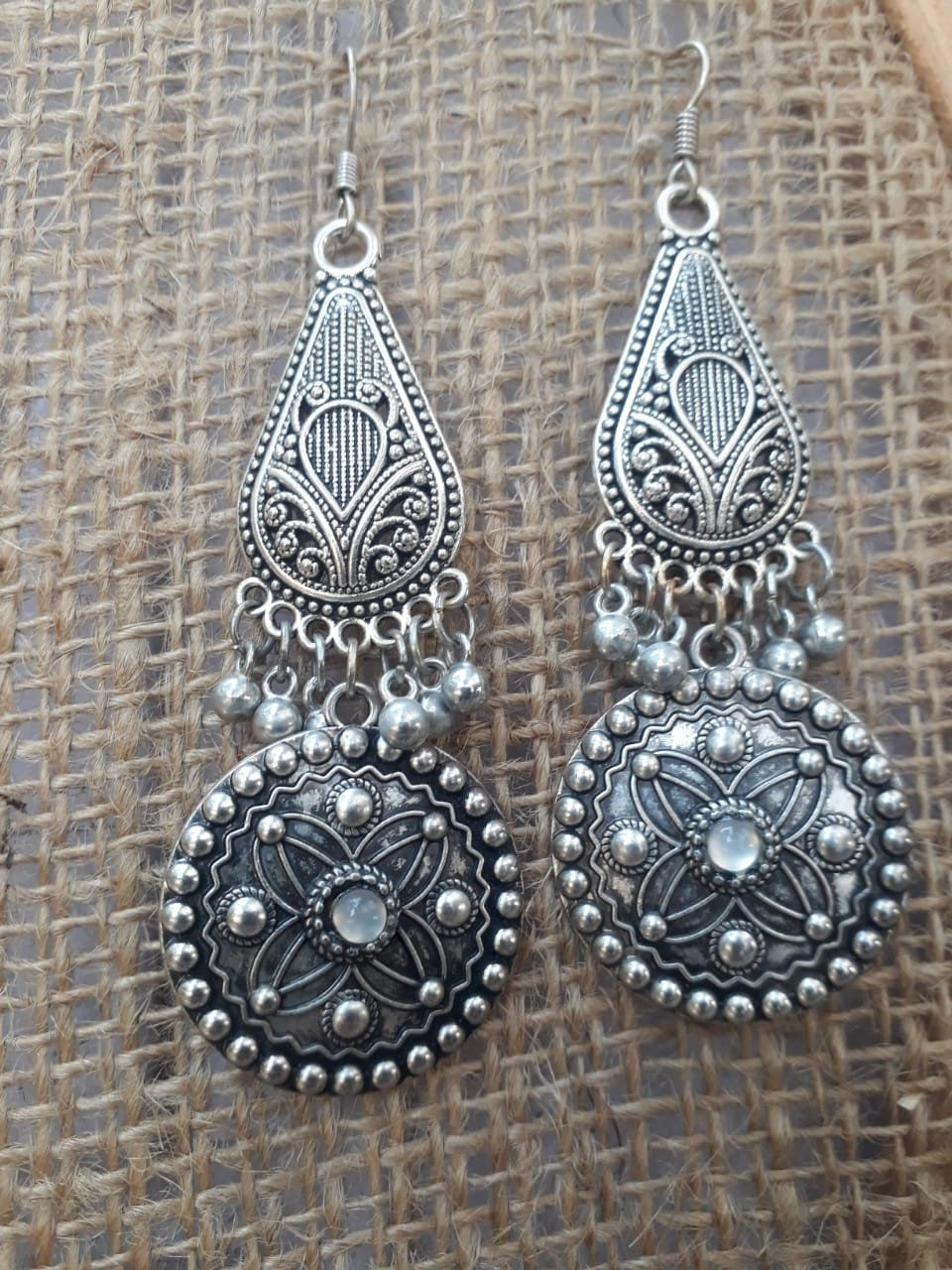 99cb72766 One Pair Indian Moon stone German Silver gypsy hoop earrings mandala ethnic  indian tribal pretty unique boho pixie festival Sacred Jwellery by  itemofhand on ...