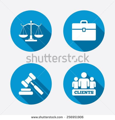 Scales Of Justice Icon Group Of Clients Symbol Auction Hammer Sign Law Judge Gavel Court Of Law Circle Concept Web Buttons Ve Concept Web Justice Symbols