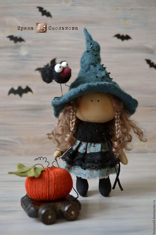 Купить текстильная кукла ВЕДЬМОЧКА - тёмно-зелёный, ведьма ...
