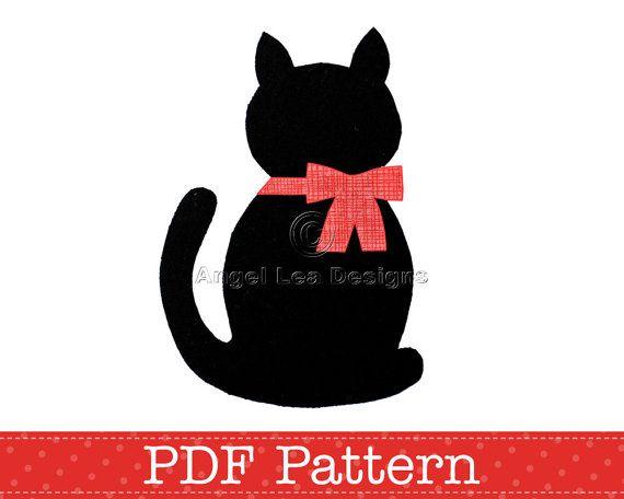 cat applique template kitten template animal diy children pdf pattern by angel lea designs instant download - Ngel Muster Selber Machen