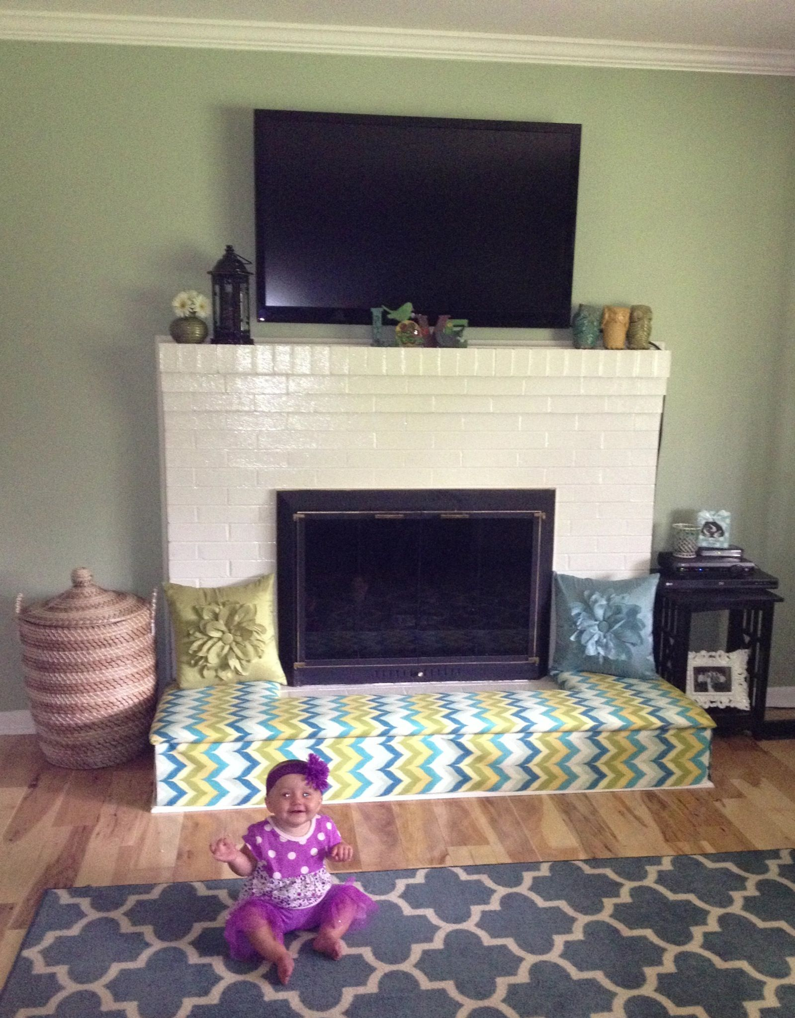 Baby proofing fireplace. DIY Fireplace bench. Cut plywood to fit ...