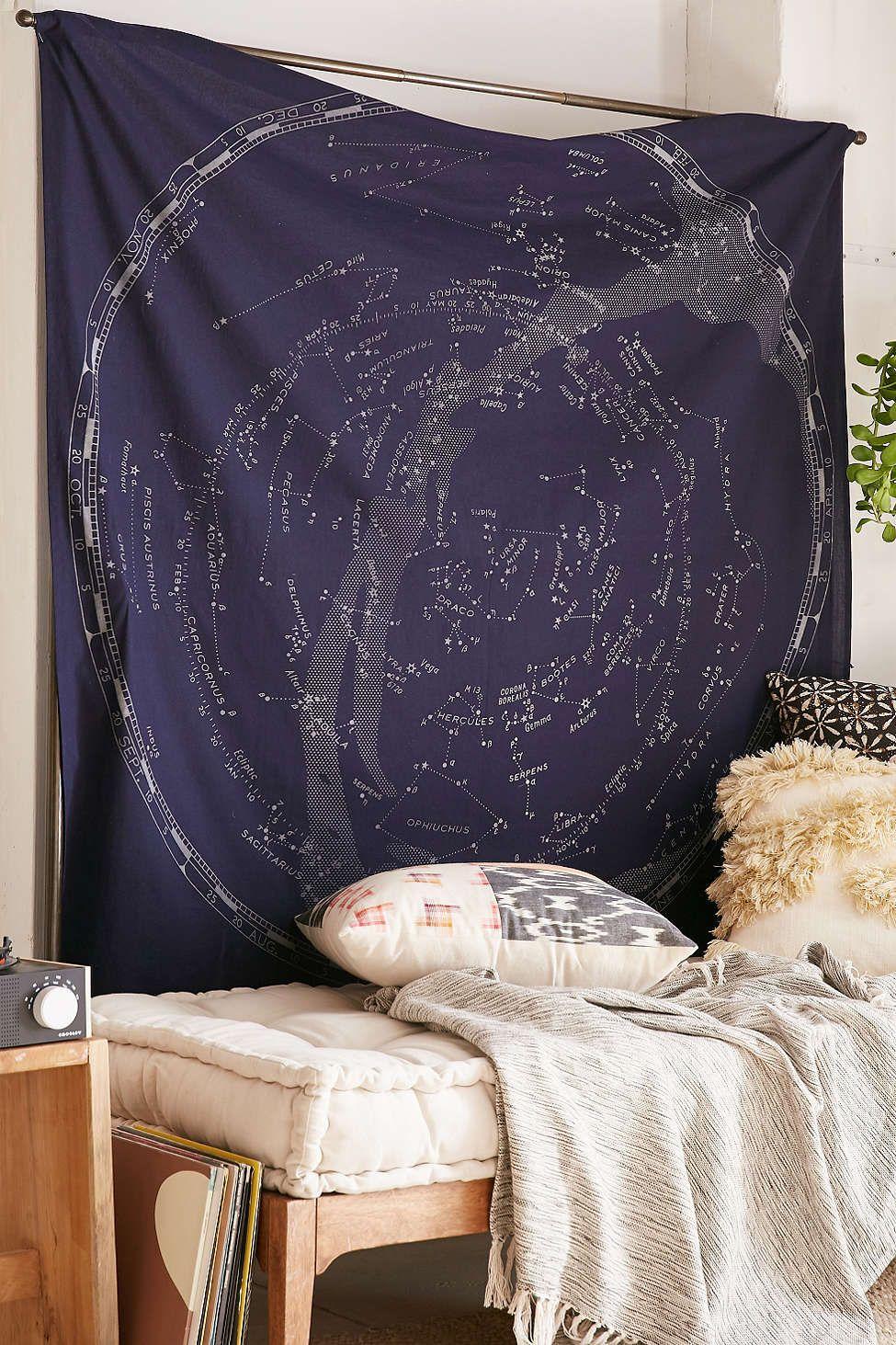 Glow-In-The-Dark Constellation Map Tapestry | Blumen, Häuschen und Ideen